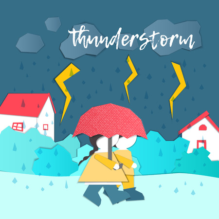 Vector Characters. Weather Forecast in papercut style. Girl and boy outdoors on a stormy day.Childrens applique style Çizim