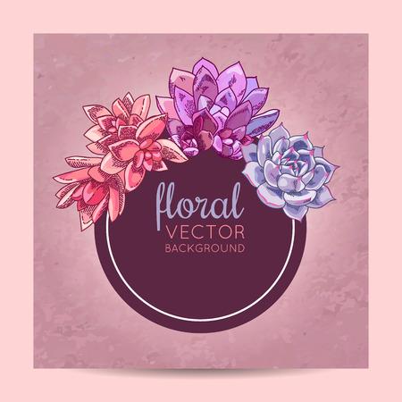 Elegant card design. Succulents wreath decoration. Floral illustration.