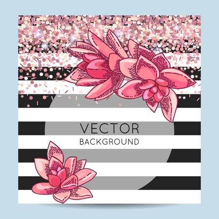 Elegant card design. Succulents wreath decoration. Floral illustration. Shiny pink gold decoration.