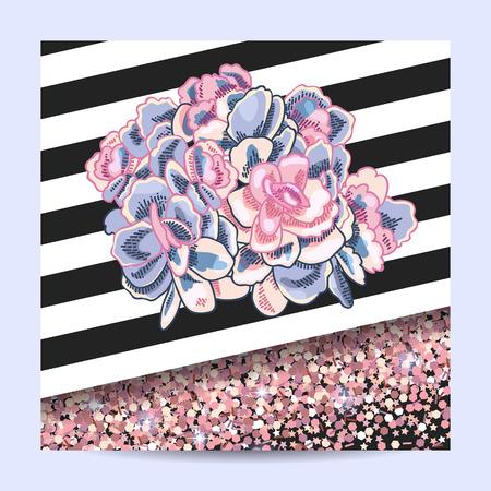 Elegant card design. Succulents vector decoration. Floral illustration. Shiny pink gold decoration.