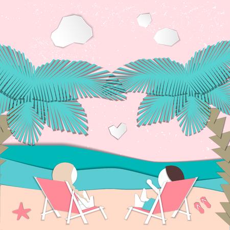 Summertime illustration. Couple resting on deckchairs. Paper cut design