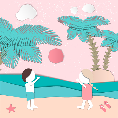 Summertime illustration. Couple playing on the beach. Paper cut design