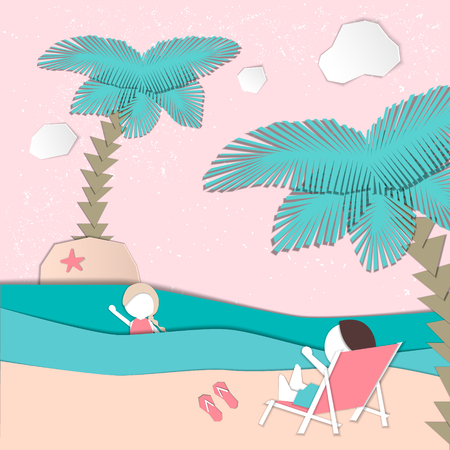 Summertime illustration. Girl swimming in the sea, boy resting on deckchair. Paper cut design