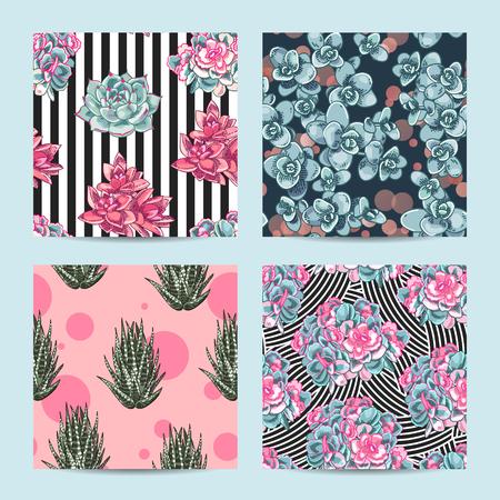 Floral seamless pattern set. Collection of botanical illustrations. Succulents decoration design.