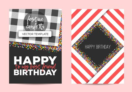 Happy Birthday greeting cards with color confetti decoration. Stiped geometric template.