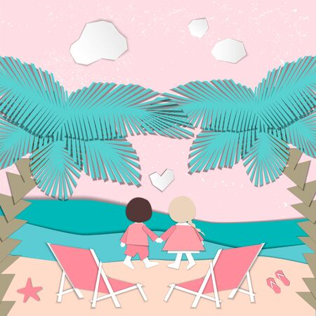 Summertime illustration. Couple watching the sunset. Paper cut design Vettoriali