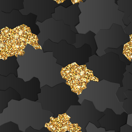 Abstract seamless pattern decorated with golden glitter. Paper cut design.