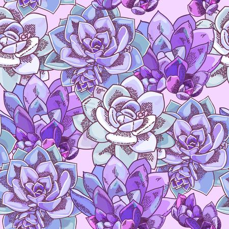 Beautiful succulents decoration design. Floral seamless pattern. Botanical illustration.