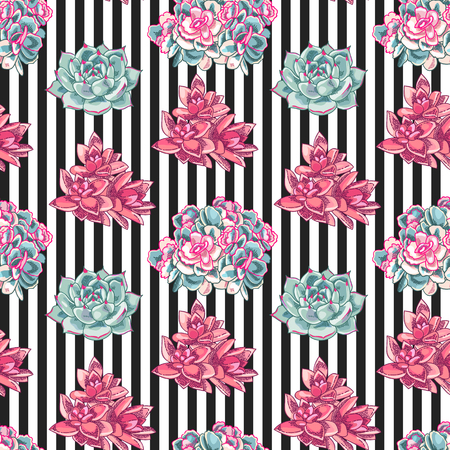 Beautiful succulents decoration design. Floral seamless pattern. Botanical illustration on a striped background.