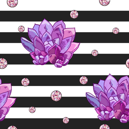 Beautiful succulents decoration design. Floral seamless pattern. Botanical illustration on a striped background with shine confetti decoration.