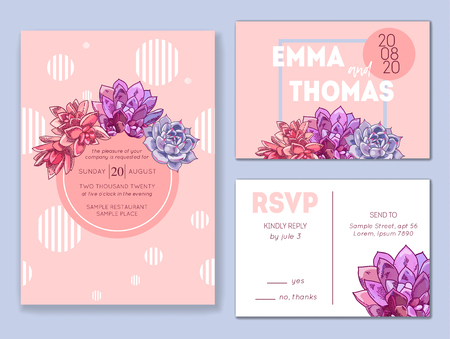 Floral wedding invitation set. Collection of different invite cards decorated with succulents. Save the date, rsvp vector cards. Botanical illustration. Ilustração