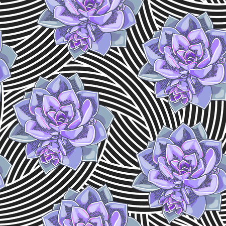 Beautiful succulents decoration design. Floral seamless pattern. Botanical illustration on abstract geometric background.