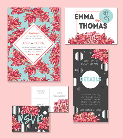 Floral wedding invitation set. Collection of different invite cards decorated with succulents. Save the date, rsvp vector cards. Botanical illustration. Çizim