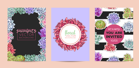 The collection of illustrations with beautiful succulents decoration. Vector floral set. Botanical and abstract geometric background template. Vettoriali
