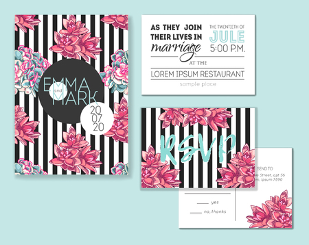 Floral wedding invitation set. Collection of different invite cards decorated with succulents. Save the date, rsvp vector cards. Botanical illustration. Vettoriali