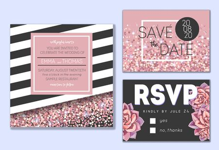 Floral wedding invitation set. Collection of different invite cards decorated with succulents and rose glitter. Save the date, rsvp vector cards.