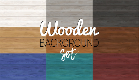 Set of wooden backgrounds. Wood table texture. Vector plank board template. Different colors. Vettoriali