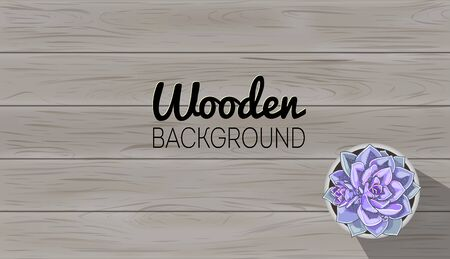Gray wood background template. Wooden table texture. Vector plank board