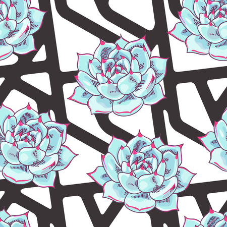Vector geometric seamless pattern with floral decoration. Abstract striped background
