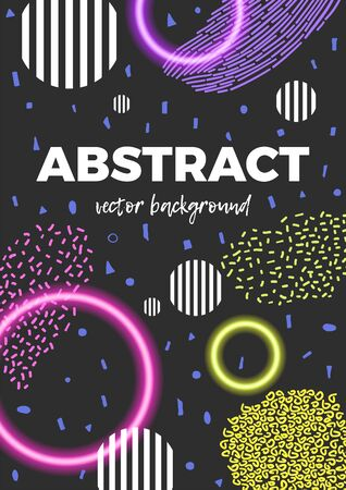 Modern abstract background. Geometric poster decorated with different stripes, neon and striped circles. Vettoriali