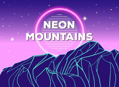 Vector poster with geometric mountain and neon circle. Modern abstract background.