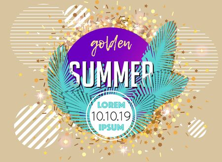 Vector banner with palm leaves and striped circles. Summer abstract illustration with golden glitter decoration. Vettoriali