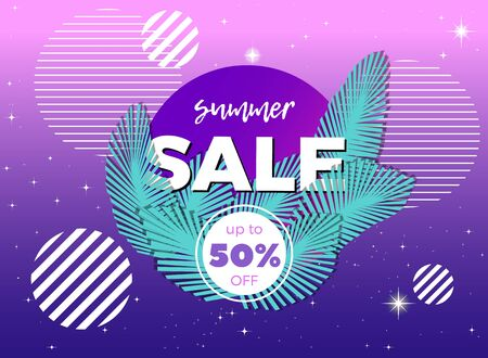 Vector banner with palm leaves and striped circles. Summer sale abstract illustration.