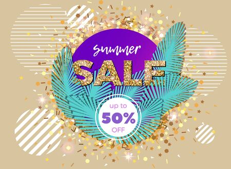 Vector banner with palm leaves and striped circles. Summer sale abstract illustration with golden glitter decoration.