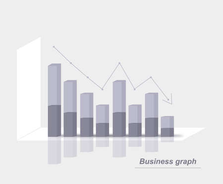 Grey business graph Illustration
