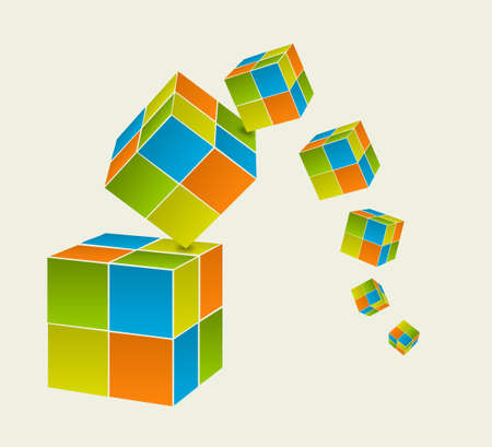 Falling color cubes Illustration