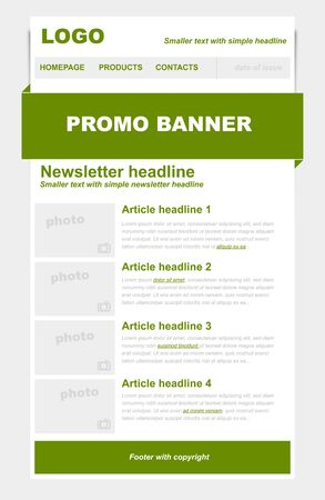 Newsletter template with green color