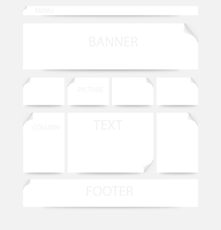 Layout of webpage with corners and shadows