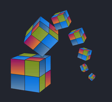 Falling colored cubes with dark background