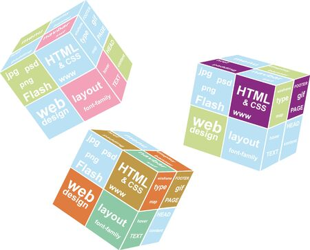 Web cube with words