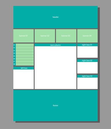 Three column 3d website layout Illustration