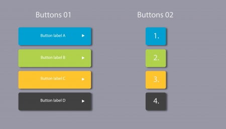 Website button elements with colors