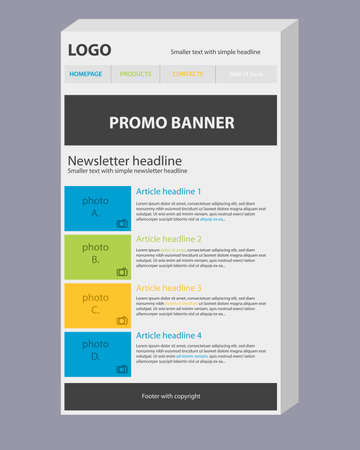 Newsletter 3D template with three main colors