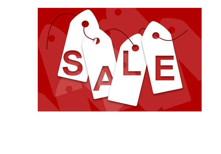 White sale cards on red background Illustration