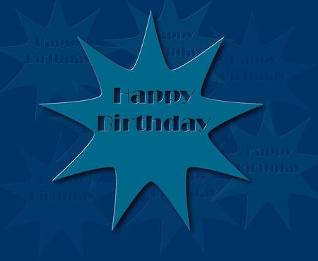 Happy birthday retro vector illustration with blue color Illustration