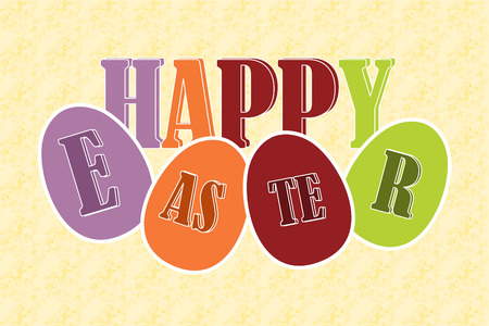 Happy easter eggs with text
