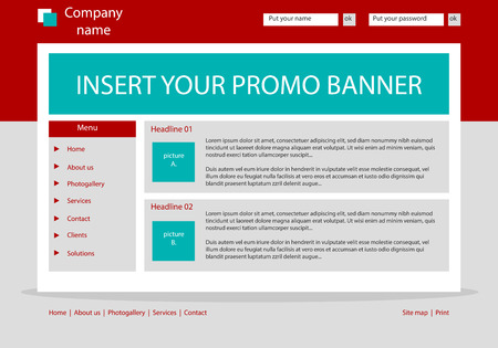 Website template layout with text