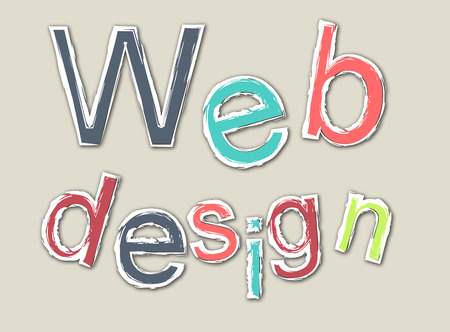 Colored retro webdesign word with outline Illustration