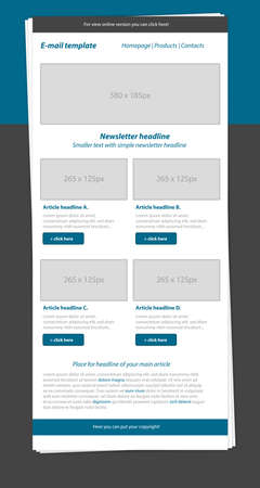 business style: Newsletter blue template with business style