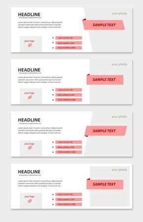 Vector set of address timeline pink covers Illustration