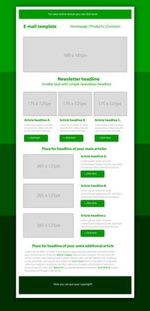 Professional business style newsletter green template Illustration