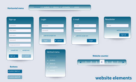 Business website elements with text
