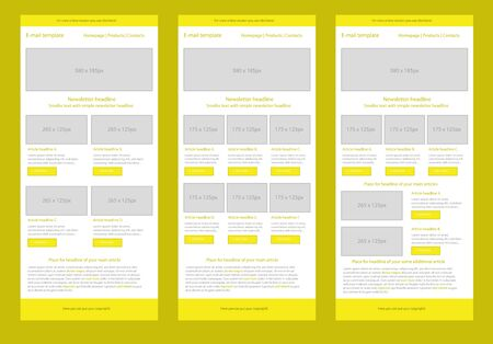 website template: Professional flat style newsletter yellow template