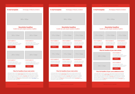 email: Professional flat style newsletter red template Illustration