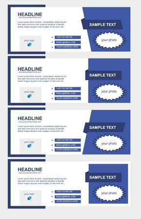face book: Conjunto de vectores de Facebook Timeline cubiertas azules