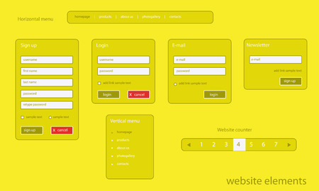 textfield: Flat website elements with text
